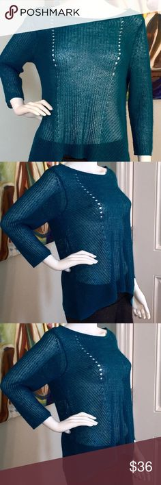 Teal blue Eileen Fisher sweater 100% organic linen Teal blue Eileen Fisher bateau neck sweater with 3/4 length sleeves and elliptical hemline. 100% organic knit linen. Never worn - in Flawless condition. Eileen Fisher Sweaters Crew & Scoop Necks