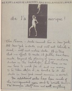 """Man Ray's letter to Tristan Tzara (New York, 18 June 1921). """"...all New York is dada..."""""""