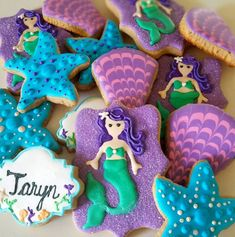 Mermaid Under The Sea Birthday Party Sugar Cookies TheIcedSugarCookie.com Ambers Cake Creations