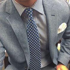 Men's Grey Herringbone Blazer, White and Navy Vertical Striped Dress Shirt, Grey Dress Pants, Navy Print Tie Grey Trousers, Grey Dress Pants, Shirt Dress, Blazer Dress, Tweed Suits, Mens Suits, Vertical Striped Dress, Herringbone Blazer, Suit Pattern