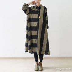 Black strip linen dresses long sleeve linen maxi dress oversize traveling dressesThis dress is made of cotton linen fabric, soft and breathy, suitable for summer, so loose dresses to make you comfortable all the time.Measurement:One Size: length 104cm / 40.56