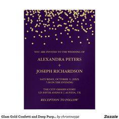 Glam Gold Confetti and Deep Purple Wedding Invitation Card