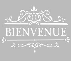 Pochoir Adhésif 28 x 20 cm AFFICHE BIENVENUE                              … Adhesive Stencils, Stencil Art, Flower Stencils, Stencil Patterns, Stenciling, Chalk Paint Projects, Silhouette Portrait, Kirigami, Business Logo