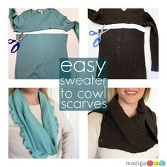 Cowl Scarves from Old Sweaters - love the brown one, can't wait to see what henley sweater I have to cut up