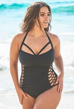 5b43267801 Ashley Graham x Swimsuits For All Boss Black Cut Out Underwire One Piece  Swimsuit. Plus Size ...