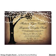 String of Lights Rustic Oak Tree Wedding Invites