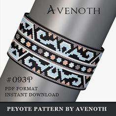 peyote bracelet pattern, bead pattern, beading, peyote stitch, jewelry pattern, peyote pattern, digital file, pdf pattern, avenoth #093P