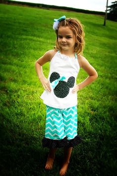 Minnie Mouse Inspired chevron Halter and ruffle capri shorts or pants outfit. Disney cruise/.Disney trip /Birthday !  can be done as Mickey. on Etsy, $28.00