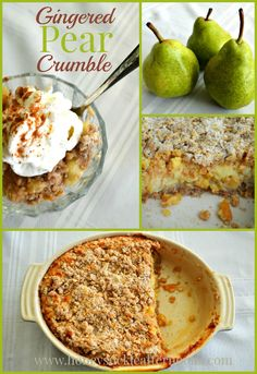 Gingered Pear Crumble   Sweet pears meet the spice of candied ginger in a crumble with oats and a bit of cream  www.honeysuckleafternoons.com