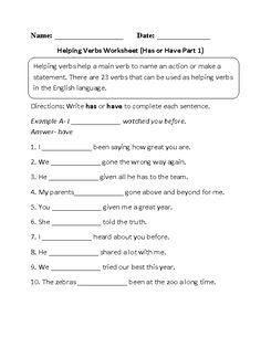 Printables Main And Helping Verbs Worksheet circling helping verbs worksheet advanced school pinterest has or have part 1 beginner