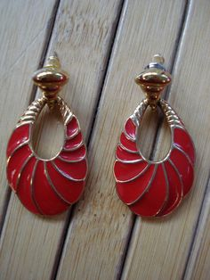 Vintage 1970s Trifari Earrings Red Enamel Pierced by bycinbyhand, $14.00