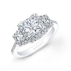 NK20623-W 14k White Gold Princess Cut Diamond Engagement Ring with Trapezoid Side Stones #Princesse