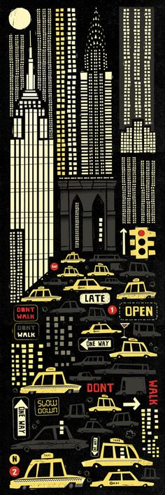 Retro-style poster for New York City (artwork by Peter Donnelly) City Poster, Art Graphique, Grafik Design, Travel Posters, Vintage Posters, Mail Art, Illustrators, Graphic Art, Design Art