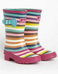 JNR WELLY Girls Rain Boots, Pink Stripe // Joules