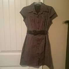 BROWN PINSTRIPE CAREER BELTED DRESS SIZE SMALL This is a chocolate brown with white pinstripes work dress perfect for the office or to be worn casually. It is brand new without tags, unfortunately not my size. Iz Byer Dresses