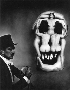 Salvador Dalí portrait, In Voluptas Mors (1951). In Voluptas Mors, a surrealistic portrait of Dali beside a large skull, in fact a tableau vivant composed of seven nudes. Halsman took three hours to arrange the models according to a sketch by Dali.
