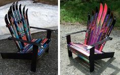 Ready to retire your old ski equipment? Craft them into a comfy chair so you'll have a perfect place to sit back, relax, and remember all of the good times you had on the ski slopes.