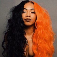 Half Colored Hair, Half Dyed Hair, Half And Half Hair, Split Dyed Hair, Dye My Hair, Colored Wigs, Hair Color For Black Hair, Cool Hair Color, Exotic Hair Color