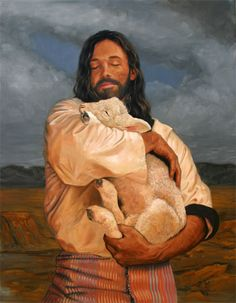 Isaiah 40:11 Like a shepherd he will care for his flock. With his arm he will gather together the lambs, And in his bosom he will carry them. He will gently lead those nursing their young - - - art by Stephen Sawyer