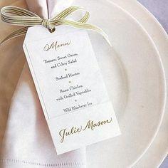 menu sur la serviette
