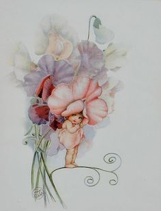Snugglepot and Cuddlepie were my favourite books as a child. This is Sweet Pea Baby by Cecilia May Gibbs Vintage Fairies, Vintage Art, Vintage Vogue, Fairy Pictures, Australian Art, Flower Fairies, Fairy Art, Faeries, Oeuvre D'art