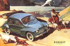 This is a really lovely and bucolic Renault ad and it finally explains why t… – En Güncel Araba Resimleri Renault Nissan, Poster Cars, 1950s Car, Car Museum, Car Advertising, Automotive News, Car Drawings, Love Car, Small Cars