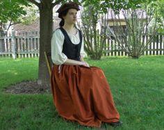 Complete SET Renaissance Dress Costume: Bodice, Chemise & Skirt - Womens Size S, M, L - 4 Colors