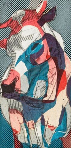Howard Warshaw (1920-1977), untitled (bull), 1959, mixed media collage. Lot 199