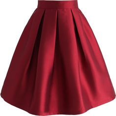 Chicwish All Time Essential Pleated Skirt in Wine (2.050 RUB) ❤ liked on Polyvore featuring skirts, red, holiday skirts, cocktail skirt, red pleated skirt, pleated skirts and red knee length skirt
