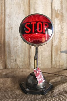 Vintage Industrial Style Stop Light Table Lamp by AnvilIndustrik