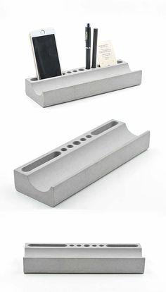 Phone Holder& Pen Pencil Holder Concrete (or marble piece) Desktop Organizer Cement Art, Concrete Cement, Concrete Furniture, Concrete Crafts, Concrete Projects, Concrete Design, Beton Design, Desktop Organization, College Organization