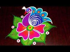Creative & Simple Kolam / rangoli Design without using Dots Indian Rangoli Designs, Simple Rangoli Designs Images, Rangoli Designs Latest, Colorful Rangoli Designs, Beautiful Rangoli Designs, Rangoli Patterns, Rangoli Ideas, Kolam Rangoli, Flower Rangoli
