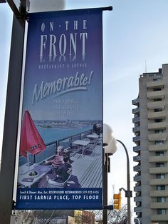 On the Front restaurant in Sarnia is a great vantage point for viewing sunsets and other goings-on in and over the St. Clair River and Port Huron. Port Huron, The St, Sunsets, Ontario, How To Memorize Things, Restaurant, River, City