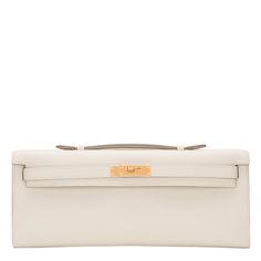 #Hermes Craie Swift Kelly Cut Gold Hardware #Clutch #Bag