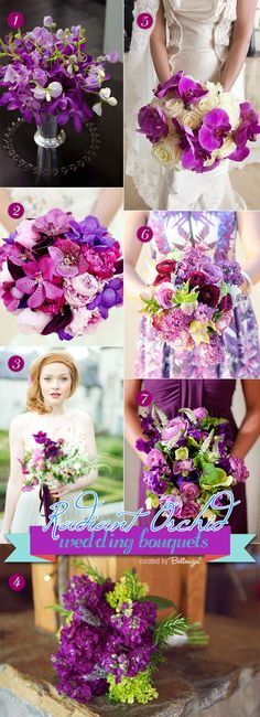 Summer wedding bouquet for radiant orchid in fuchsia, magenta, purple, and pink hues.  #weddingbouquets #summerweddings #radiantorchid