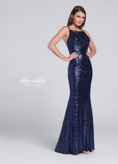 Ellie Wilde EW117115 - Sleeveless sequin fit and flare gown with bateau neckline, thin double straps crisscross in back multiple ways, sweep train.