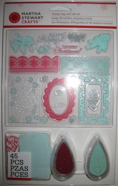 Martha Stewart Clear Stamps Ink Pads Tags Set Christmas Holiday Snowflakes