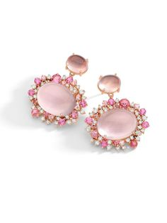 Brumani 18k Rose Gold Rose Quartz and Diamond Drop Earrings with Pink Quartz Framed by Pink Tourmaline and Diamonds