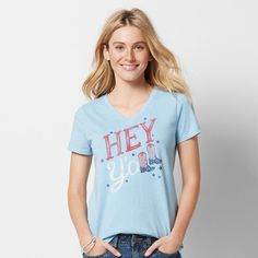 Women's Patriotic Graphic V-Neck Tee, Size: