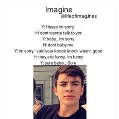 Find images and videos about boys, magcon and imagine on We Heart It - the app to get lost in what you love. Hayes Grier Imagines, Magcon Imagines, Dolan Twins Imagines, Text Imagines, One Direction Imagines, I Love One Direction, Imagines Crush, Direction Quotes, Louis Tomlinson Imagines