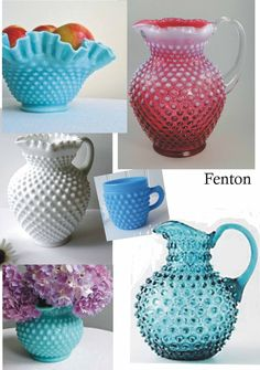 Fenton Hobnail is my style art glass. I collect it all, but milk glass is my fav! Vintage Dishware, Vintage Dishes, Vidro Carnival, Antique Dishes, Antique Glass, Cut Glass, Glass Art, Fenton Glassware, Cranberry Glass