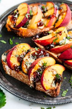Baked Balsamic Peach Breakfast Toast with Blue Cheese and Fig Jam | aberdeenskitchen.com