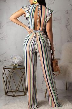 Women New Stylish Roaso Contracted Style Striped Jumpsuit Multi Jumpsuit Outfit, Casual Jumpsuit, Striped Jumpsuit, Black Jumpsuit, Striped Pants, Backless Maxi Dresses, Maxi Dress With Sleeves, Sparkly Jumpsuit, Wedding Jumpsuit
