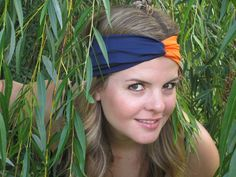 Chicago Bears Headband Navy and Orange Turband by ItsTwisted, $18.00