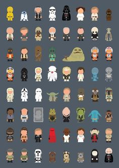 star wars characters done in a south park style. episodes 4-6. no jar jar!