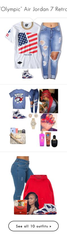 """""Olympic"" Air Jordan 7 Retro"" by prinxcess-adri ❤ liked on Polyvore featuring Chicnova Fashion, NIKE, Club Manhattan, Archer, Nadri, Forever 21, BMW, Rolex, Michael Kors and Victoria's Secret"