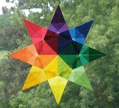 Rainbow Mandala Waldorf Window Star