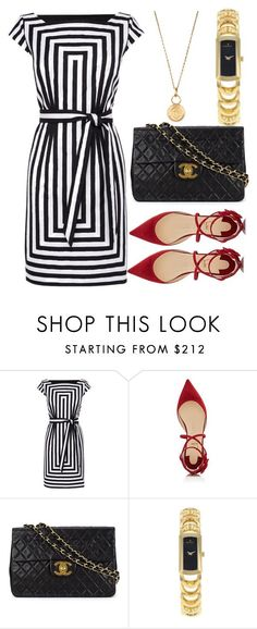 """Untitled #351"" by xxchicfashionxx ❤ liked on Polyvore featuring Karen Millen, Christian Louboutin, Chanel, Movado, Aurélie Bidermann, gold, stripes and blackandwhite"