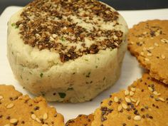 Raw vegan pepper herb cheese and...