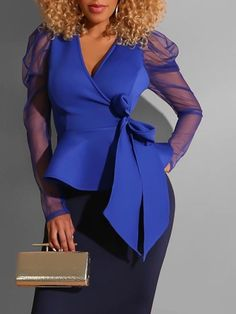 V Neck Sexy Blouse Women Mesh Transparent Long Sleeve Blue OL Ruffle Blouses Tops Spring Autumn Female Night Club Party Shirts Green Evening Dress, Sexy Blouse, Peplum Blouse, Blouse Online, Mode Style, Simple Outfits, African Fashion, Types Of Sleeves, Blouse Designs